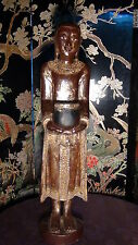 EARLY 20c ASIAN  WOOD GILT CARVED STANDING BUDDHA STATUE WITH MIRROR DECORATION