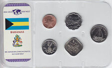 Bahamas  nice Set of 5 coins  BU