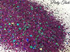 Mixed glitter Gel/acrylic Nail art Holographic Purple Aqua 6g Bag Party Trick