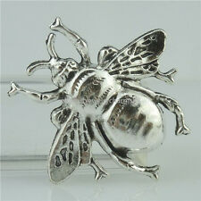 15096 5PCS Alloy Antique Silver Vintage Insect Large Bee Fly Cameo Bail