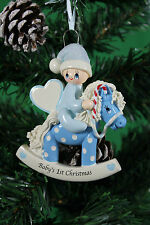Personalised Baby's 1st  Christmas tree Ornament - Baby Boy on Blue Rocking Pony