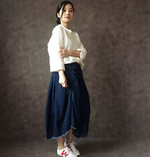women's jean mid skirt asymmetric cut handmade Chinese button elastic waist navy