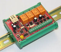 WEB, Internet , Ethernet controlled relay board: Arduino compatible, RS485, DIN