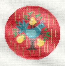 """LEE Christmas Partridge in a Pear Tree handpainted Needlepoint Canvas 3"""" Rd."""
