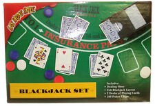 BLACKJACK SET LAYOUT  4 DECK SHOE  2 NEW DECKS OF CARDS 100 CHIPS HOME GAME *
