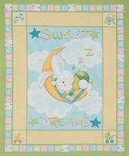 NEW Fabric Bunny Sweet Dreams Cot Panel Quilting Craft Cotton Material Baby Kids