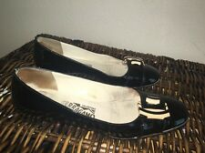 �� Salvatore FERRAGAMO  Black Patent Flats W/ Zebra Accent Right 6.5/Left 6B