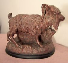 LARGE antique terra cotta goat pipe cigar smoking stand ashtray humidor holder