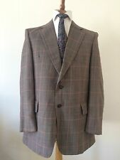 John Temple, Brown Checked Blazer, Wool Blend, Size 42R. MOD Suit Jacket