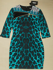 VERSACE VERSUS LEOPARD PRINT SAFETY PIN DRESS BNWT £320 GENUINE SIZE 10 (42)