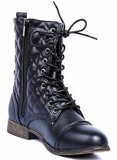Women Military Quilted Combat Lace Up Boots Zipper Low Heel Mid Calf Round