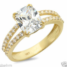 3.40 CT Engagement Ring Cushion Cut Split Shank 14k Solid Yellow Gold Bridal