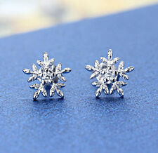UK 925 Sterling Silver Crystal Snowflake Ear Stud Earrings Women Jewelry Gift