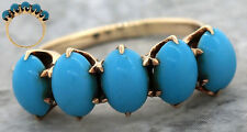 Antique Victorian 1890s Estate 14K Yellow Gold Persian Turquoise Band Ring