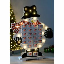 LED Christmas Xmas Wooden Advent Calendar Decoration Ornament Table Window Kids