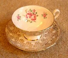 CUP SAUCER FOOTED ELEGANCE ENGLISH BONE CHINA GOLD LEAF CHINTZ PINK ROSES MINT
