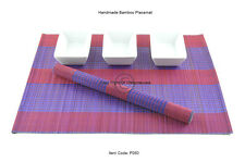 6 Handmade Bamboo Placemats Handmade Table Mats, Red-Purple, P060