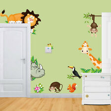 UK Jungle Animal Kids Baby Nursery Child Home Decor Mural Wall Sticker Decal