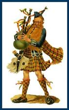 SCOTTISH BAGPIPER, IN KILT, FULL DRESS, PLAYING BAGPIPES, SCOTLAND, MAGNET
