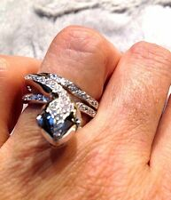 Real Crystal Snake wrap 925 Sterling Silver Ring Size 8