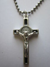 "St Benedict Crucifix Cross w/ Black Enamel 1.5"" Pendant Necklace 24"" Ball Chain"""