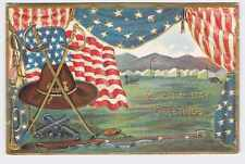 VINTAGE PATRIOTIC POSTCARD DECORATION MEMORIAL DAY GAR HAT WITH SWORDS GUNS AND