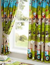 """Kids Farmyard Animals 66"""" Wide x 54"""" Drop Curtains (Sheep, Tractors and Cows)"""