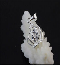 Wholesale Jewelry 925 Sterling Silver Crown Crystal Pendants Necklace