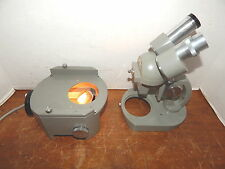 Vintage Elgeet Greenough-Style Stereo Microscope w/Matching Olympus Lighted Base