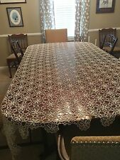 Antique Hand Crocheted Lace Tablecloth