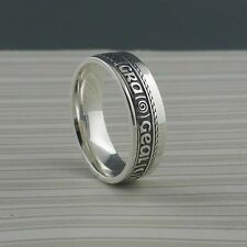 IRISH STERLING SILVER GAELIC Bright Love of My Heart Wedding Ring Rail Edge BORU