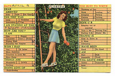 Florida Chick On A Ladder In An Orange Grove with a Nice Pair Postcard 1947