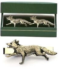 Fox Hunting Cufflinks & Tie Clip Bar Slide Tack Set Stalking Shooting Gift