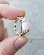 925 STERLING SILVER RING WITH PINK QUARTZ  CENTER STONE
