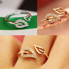 Girls Fashion Elegant Two Leaves Design Crystal Gold Filled Ring Gift Jewelry