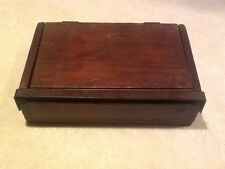 VINTAGE WOOD MONEY LOCK BOX 1800's-1900's DOVE TAILS coin impressions in wood