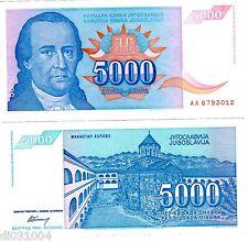 Yougoslavie Yugoslavia BILLET 5000 DINARA 1994 P141 BON ETAT