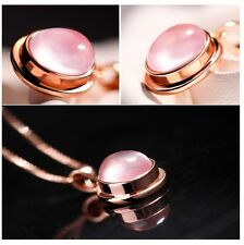 Natural Rose Quartz S925 Sterling Silver Rose Gold Filled Pendant Chain Necklace