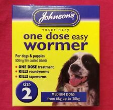 Johnson's One Dose Easy Wormer Worming Tablet For Dogs - Medium Dog Size 2