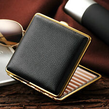 Men Thin Slim Plain Leather Wiredraw Cigarette Case Box Holder Black Gold Frame