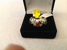 14k yellow gold multi stone cabochon style ring,diamond,ruby, sapphire,emerald