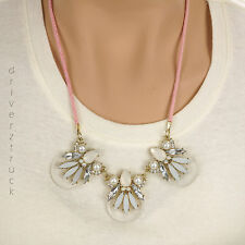 LAUREN CONRAD New! PINK Cord NECKLACE w/CLEAR & FROSTED Faux CRYSTALS & PEARLS