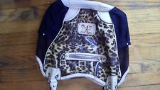 Kathy Van Zeeland Brown Leopard Print Black Studded Hobo Shoulder Bag Purse