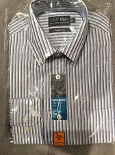"""M&S PURE COTTON OXFORD EASY TO IRON SHIRT WITH BLUE STRIPES - SIZE 14.5"""" BNWT"""