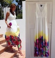 Mango Watercolor Flower Maxi Dress White Floral EXTRA SMALL XS UK 6  (USA -XXS )