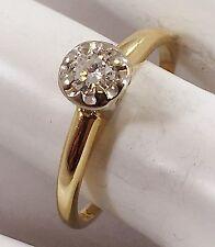 LADIES 14K KARAT YELLOW  GOLD ANTIQUE DIAMOND RING -
