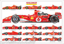 Michael Schumacher ltd.ed.art print - all his Ferrari cars