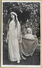 Edwardian/1920's PC- Attractive young lady in fancy dress,with sweet little girl