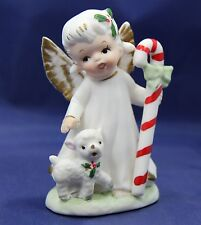 Vintage Lefton Christmas Angel w/Lamb Holding Candy Cane Original Label.