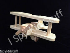 Handmade Wooden Toy Airplane Bi-Plane Aircraft Wood Toy Handcrafted Made in USA